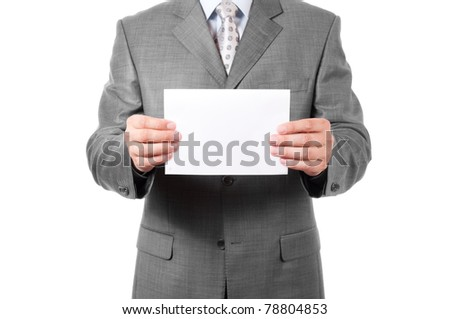 A business man holding blank paper - stock photo