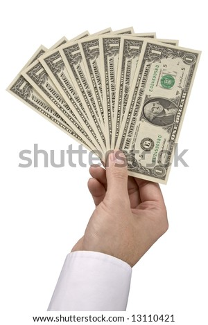 A business man holding eight one dollar bills spread in his hand. - stock photo