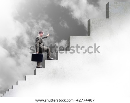 A business man is climbing up stairs. The steps become bigger. The color uses a black and white scheme. Abstract clouds are in the background.
