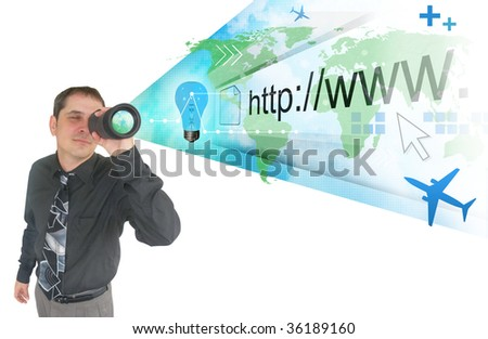A business man is holding a binocular and a projection of the world and internet address appear. There are symbols like an airplane and a light bulb. Can Represent an idea, vision or strategy. - stock photo