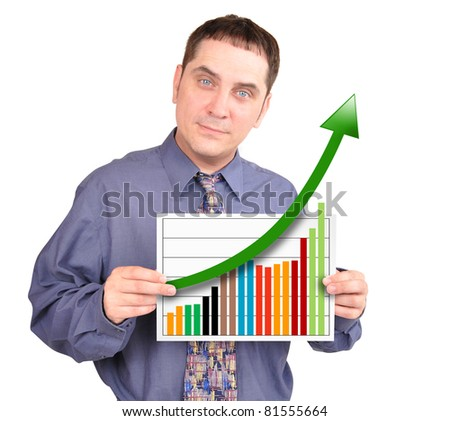 A business man is holding a piece of paper with a financial chart increasing. He is isolated on a white background.