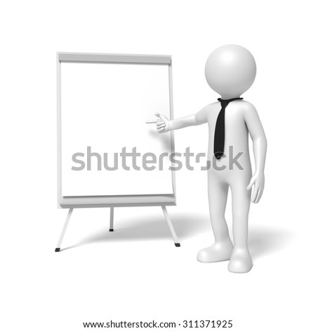 A business man is pointing to a flip chart