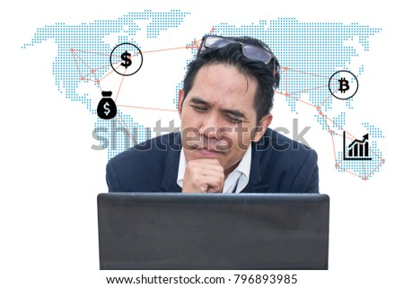 A business man is working harder to achieve new sales target.Business man with world map and business icon