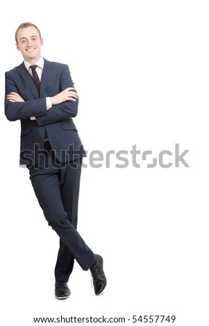 A business man leaning - stock photo