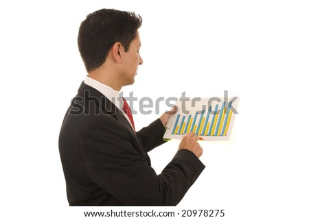 A business man looking to a financial report - stock photo
