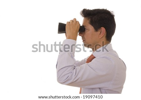 A business man looking with binoculars - stock photo
