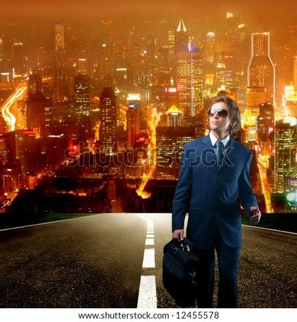 a business man on a street - stock photo