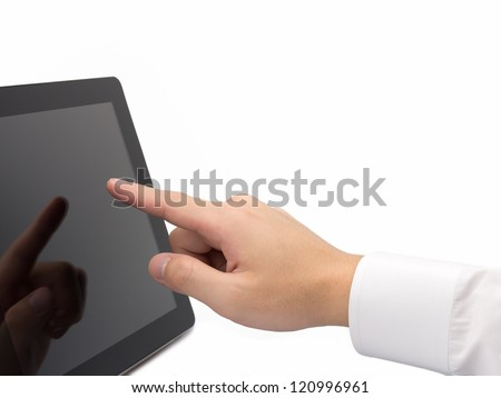 A business man  pointing on touch screen device isolated on white background - stock photo