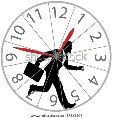 A business man races against time in the rat race as he runs in a hamster wheel clock. - stock photo