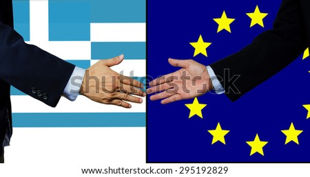 A business man shake each other hand,with Greece and EU flag background - stock photo