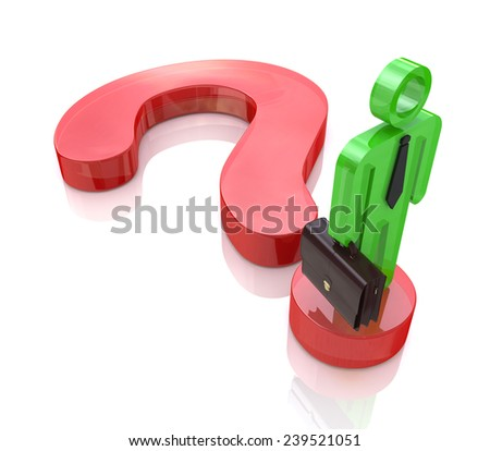 A business man stands on a question mark symbol to search find solution  - stock photo