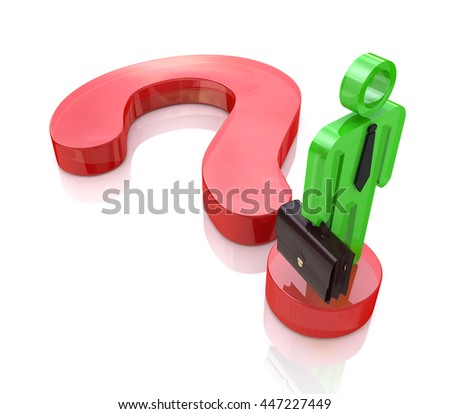 A business man stands on a question mark symbol to search find solution in the design of information related to the issues and business. 3d illustration - stock photo