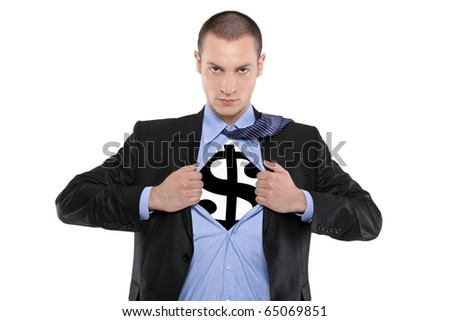 A business man tearing open his shirt to reveal a dollar sign isolated on white background - stock photo