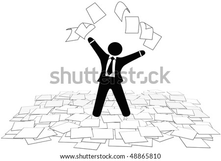 A business man throws office paper work pages into air and on floor. - stock photo