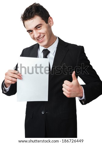 a business man with a document gives a thumb up