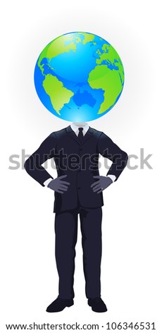 A business man with a globe for a head. Business concept for looking at the big picture or global strategic planning - stock photo