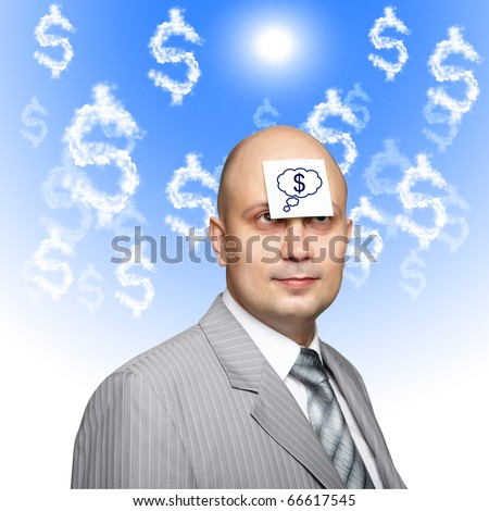 a business man with a sticker on his forehead