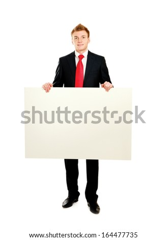 A business man with an empty blank, isolated on white background - stock photo