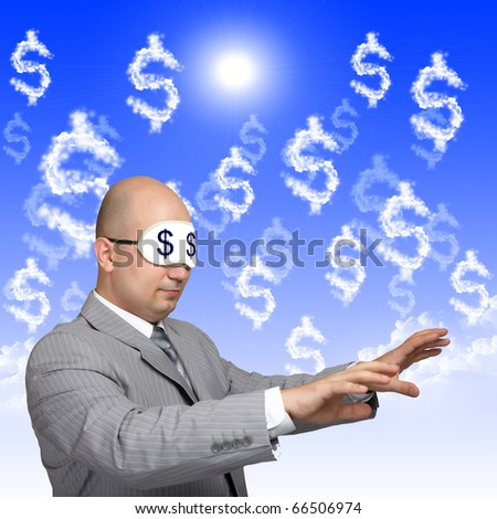 a business man with closed eyes against dollars nackground