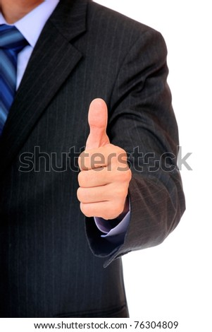 A business man with thumb up over white background