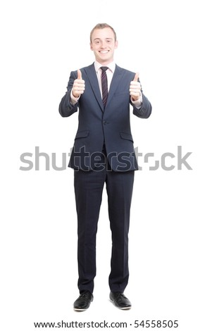 A business man with thumbs up - stock photo