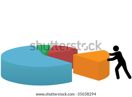 A business person pushes a last piece into place to make a market share pie chart of success.