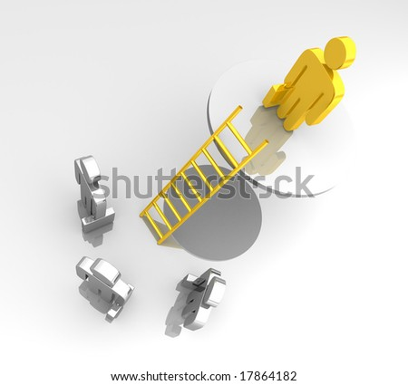 a business pictogram standing on a higher level with a golden ladder - stock photo