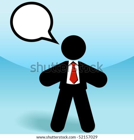 A business sales man stick figure talks in a speech bubble. - stock photo