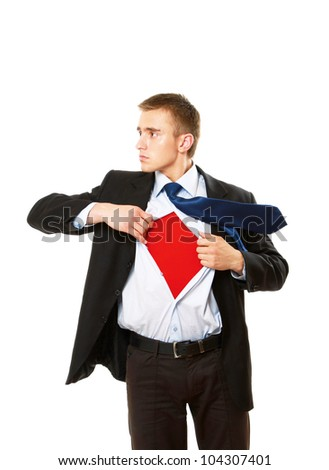 A business superman, isolated on white - stock photo