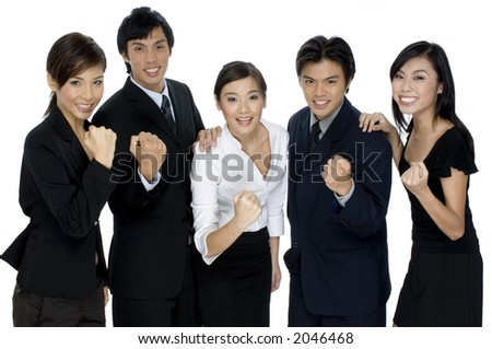 A business team celebrate their success