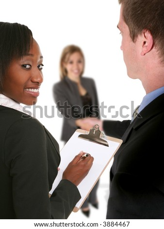 A business team conducting an interview with a job seeker - stock photo