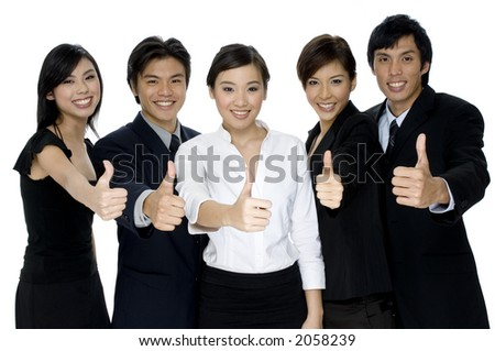 A business team giving the thumbs up on white background