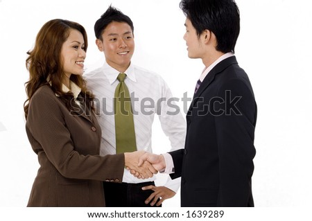 A business team meets for the first time