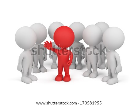 A business team with the leader in center. 3d image. White background. - stock photo