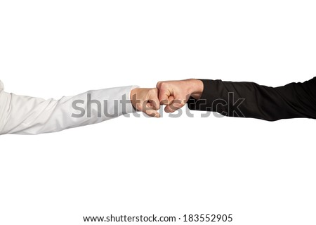 A business woman and a business man are showing the street hand shake. - stock photo