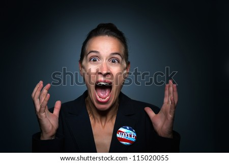 A business woman charcterizing losing an election. - stock photo