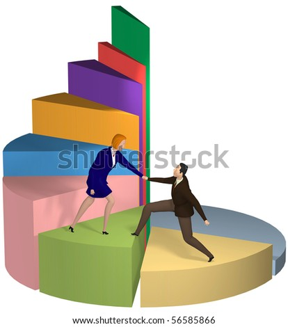A business woman gives a helping hand to a businessman up chart steps to success. - stock photo