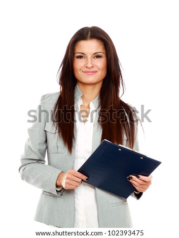 A business woman holding papers - stock photo