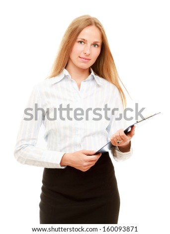 A business woman holding papers