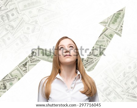 A business woman is looking up and thinking how to increase return of the business process. Increasing arrow which is made of dollar notes on the background. - stock photo