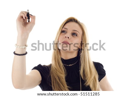 A business woman is writing a business plan and looking into the camera on a white isolated background.