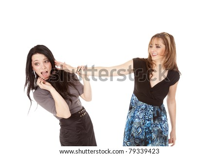 A business woman laughing after hitting her business worker's glasses off. - stock photo