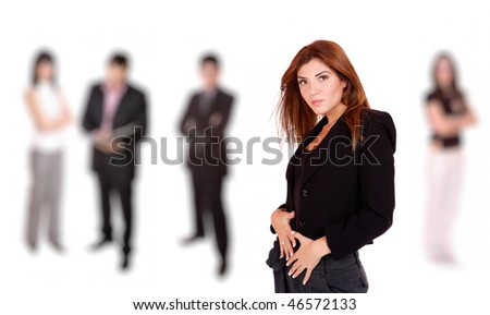 A business woman leading a team in the office