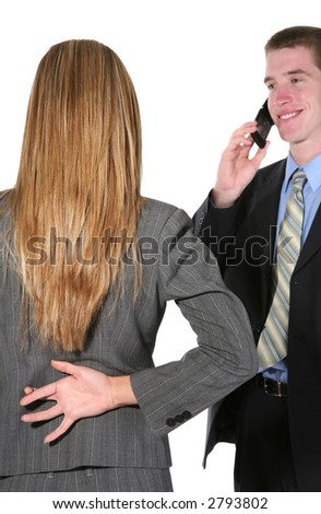 A business woman lying to her boss with her fingers crossed - stock photo