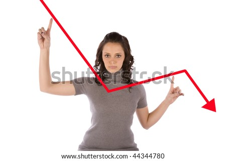 A business woman showing a red line on the graph with a sad expression on her face.