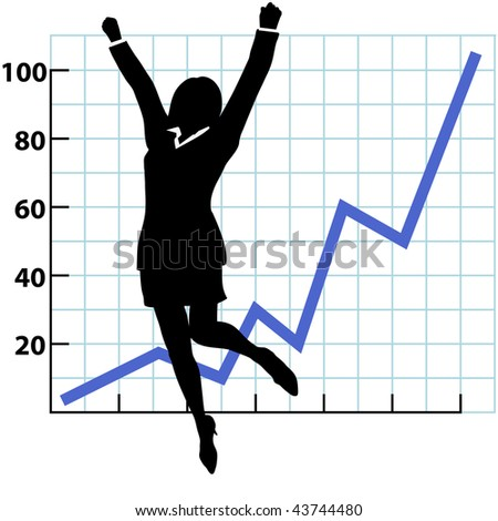 A business woman silhouette jumps and raises her fists in celebration of success on a chart of growth or profit. - stock photo