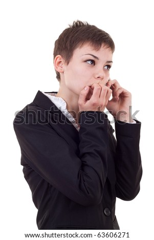 A business woman worries about bad business news or crisis - stock photo