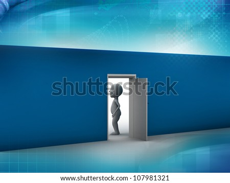 A businessman and an open door - stock photo