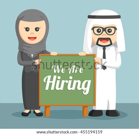a businessman and businesswoman of Arab holding hiring board - stock photo