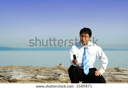 A businessman checking on his cell phone at the beach - stock photo